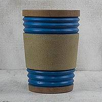 Wood decorative vase, 'Blue Rings' - Cedar Wood Decorative Vase in Brown and Blue from Ghana