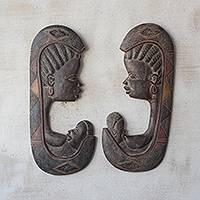 Wood relief panels, 'Feeding Mothers' (pair) - Mother and Child Sese Wood Relief Panels from Ghana (Pair)
