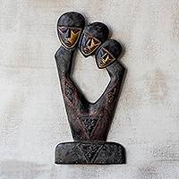 Wood wall sculpture, 'Unity Heads' - Hand-Carved Sese Wood Wall Sculpture from Ghana
