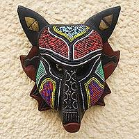African beaded wood mask, 'Wild Wolf' - African Recycled Plastic Beaded Wood Wall Mask from Ghana