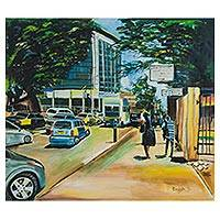 'The Bright Day' - Signed Realist Cityscape Painting from Ghana