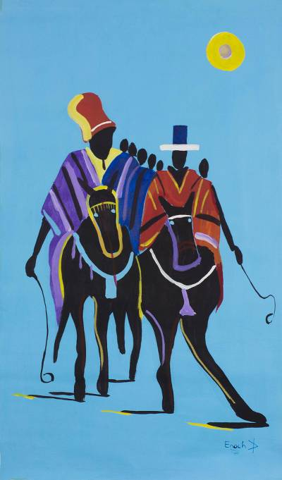 Signed Expressionist Painting of Men on Horses from Ghana