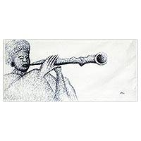 'Sound of Flute' - Expressionist Painting of a Woman Playing a Flute from Ghana