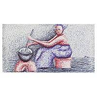 'In Pot Dish' - Signed Expressionist Painting of a Woman Cooking from Ghana