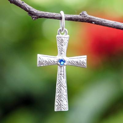Sterling silver pendant, 'Faithful Blue' - Sterling Silver and Blue CZ Cross Pendant from Ghana