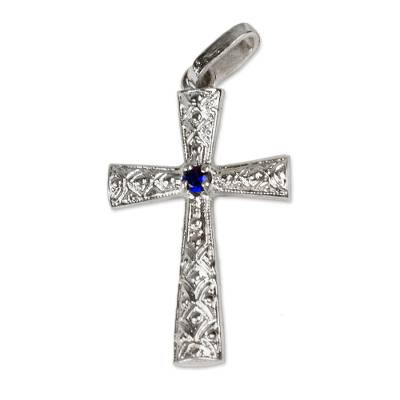 Sterling Silver and Blue CZ Cross Pendant from Ghana