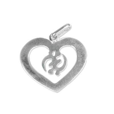 Heart-Shaped Gye Nyame Sterling Silver Pendant from Ghana