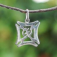 Sterling silver pendant, 'Gye Nyame House' - Adinkra-Themed Sterling Silver Pendant from Ghana
