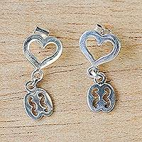 Sterling silver dangle earrings, 'Gye Nyame with Heart' - Adinkra Gye Nyame Dangle Earrings from Ghana