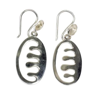 Sterling silver dangle earrings, 'Ese Ne Tekrema' - Adinkra Ese Ne Tekrema Dangle Earrings from Ghana