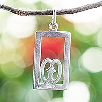 Sterling silver pendant, 'God is in the Heavens' - Sterling Silver Nyame Biribiri Wo Soro Pendant from Ghana