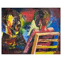 'Mirrored Reflections' - Signed Expressionist Painting of Two People from Ghana