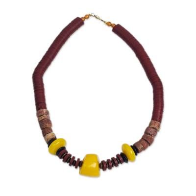 Wood and recycled plastic beaded necklace,