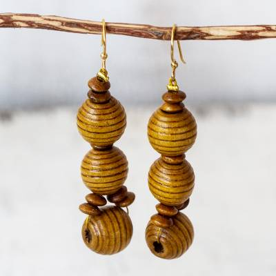 Handmade Wood Beaded Dangle Earrings From Ghana Abide