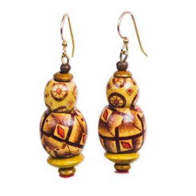 Sese Wood and Recycled Plastic Beaded Dangle Earrings