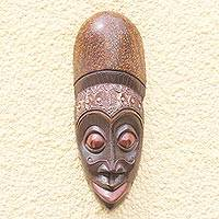 African wood mask, 'Happy Africa' - Artistic Unique African Sese Wood Mask from Ghana