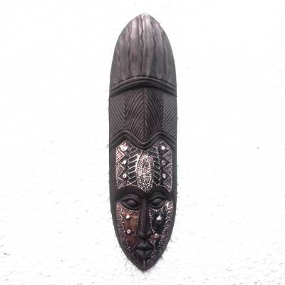 African wood mask, 'Originality' - Original African Wood Mask Crafted in Ghana