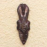 African wood mask, 'Solemn Bird' - Bird-Themed Rustic African Wood Mask from Ghana