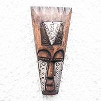 African wood mask, 'Shining Adom' - Unique African Wood Mask Accented by Aluminum and Copper