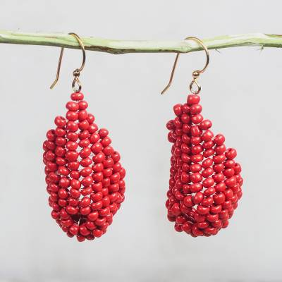 Recycled plastic beaded dangle earrings, Red Curve