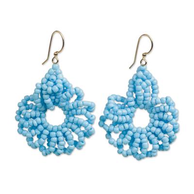 Recycled plastic beaded dangle earrings,