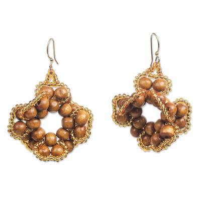 Wood and Recycled Plastic Beaded Earrings from Ghana
