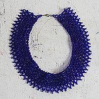 Recycled plastic beaded necklace, 'Precious Desire' - Blue Recycled Plastic Beaded Necklace from Ghana