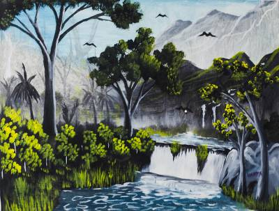 'The Riches of Vegetation' - Signed Tranquil Landscape Painting from Ghana