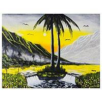 'The Riches in Nature' - Signed Beach Cottage Landscape Painting in Yellow