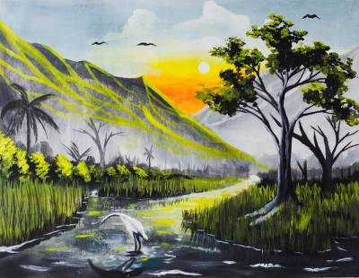 'The Riches of the African Land' - Signed African Mountainside Landscape Painting from Ghana