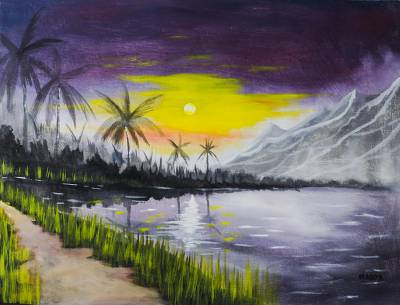 'The Nature of Life' - Signed Mountain Seascape Painting from Ghana