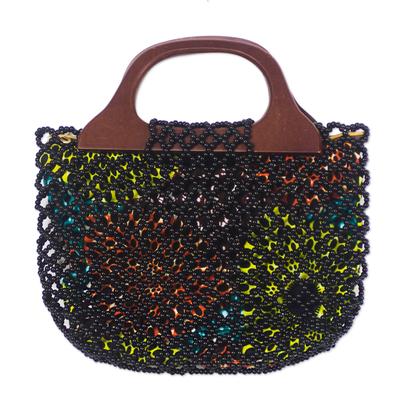 Glass beaded handle handbag,