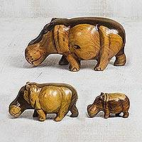 Wood figurines, 'Family of Hippos' (set of 3) - Hand-Carved Teakwood Hippo Figurines from Ghana (Set of 3)