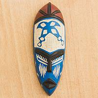 African wood mask, 'Courageous Ohene in Blue' - Blue and Cream Courageous King Wood African Wall Mask