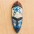 African wood mask, 'Courageous Ohene in Blue' - Blue and Cream Courageous King Wood African Wall Mask (image 2) thumbail