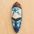 African wood mask, 'Courageous Ohene in Blue' - Blue and Cream Courageous King Wood African Wall Mask (image 2b) thumbail