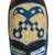 African wood mask, 'Courageous Ohene in Blue' - Blue and Cream Courageous King Wood African Wall Mask (image 2c) thumbail