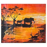 'Sun Set in the Wild Forest' - Signed Elephant-Themed Landscape Painting from Ghana
