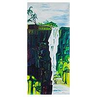 'Water Falls' - Signed Expressionist Painting of a Waterfall from Ghana