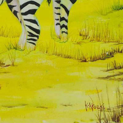 signed original acrylic on canvas Ghana West Africa 19 X 27 African Painting-Zebra Crossed
