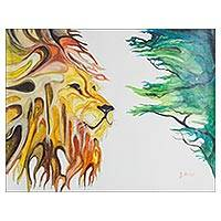 'Lion King' - Signed Expressionist Painting of a Lion from Ghana