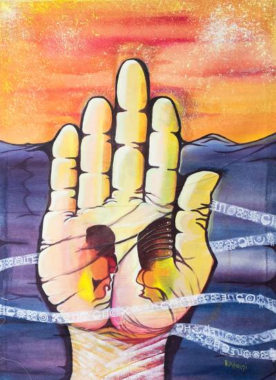 'Hand Palm' - Signed Surrealist Painting of a Hand from Ghana