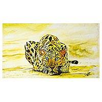 'Aggressive Leopard' - Signed Expressionist Painting of a Yellow Leopard from Ghana