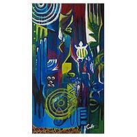 'Cubism' - Signed Colorful Cubist Adinkra Symbol Painting from Ghana
