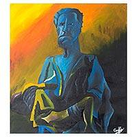 'Why Me' - Signed Expressionist Painting of a Man and Child from Ghana
