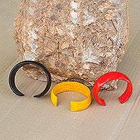 Leather cuff bracelets, 'Annula' (set of 3)