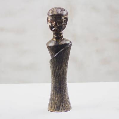Wood statuette, 'Okyeame' - Cultural Wood Statuette of a Village Linguist from Ghana