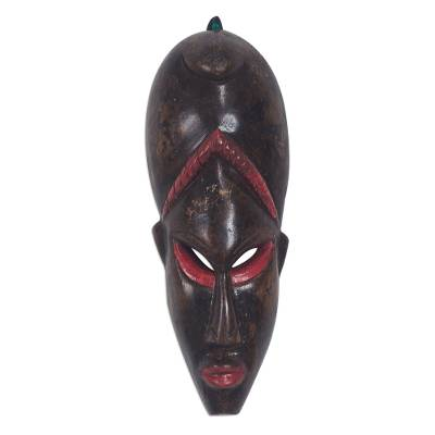 Brown and Red African Wood Wall Mask from Ghana