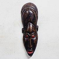 African wood mask, 'Man of God' - Hand-Carved Rustic African Wood Mask from Ghana