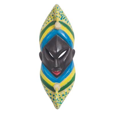 Adinkra-Themed African Wood Wall Mask from Ghana